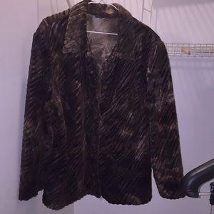 Faux fur jacket size 22 Additionelle button front